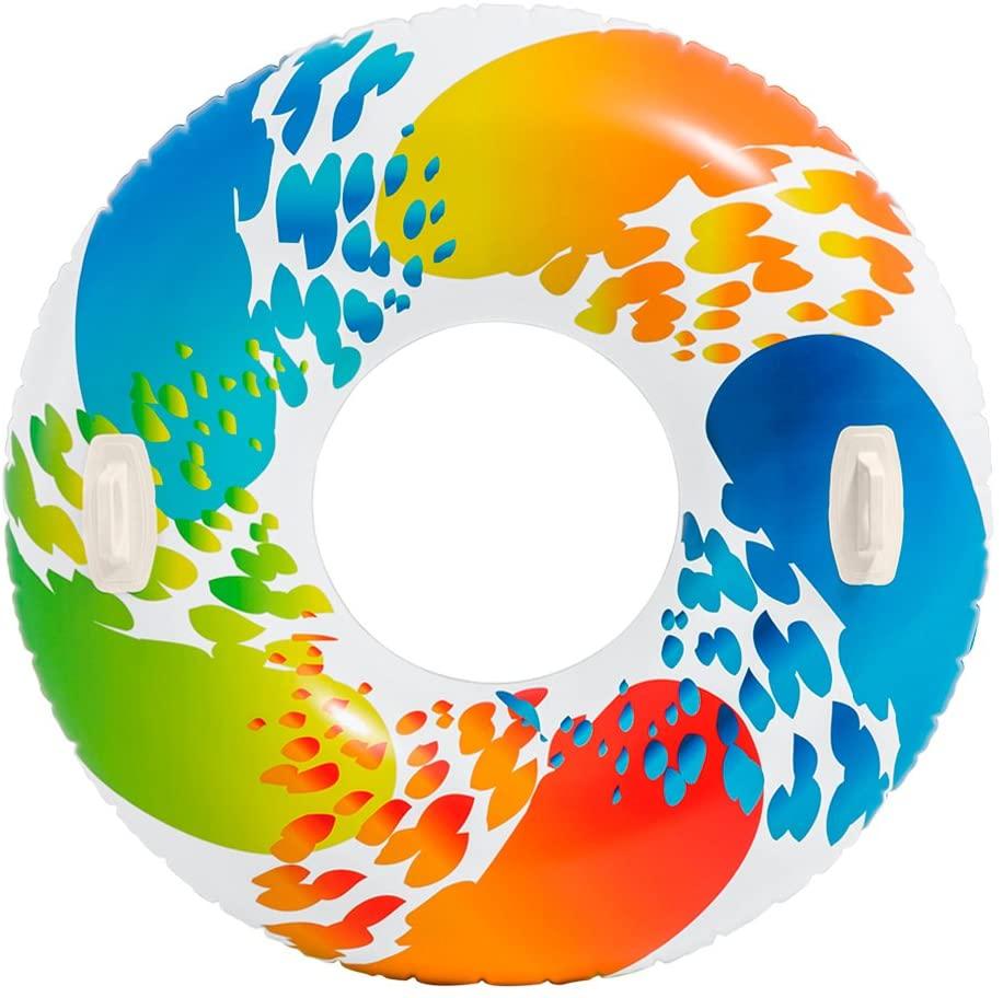 Bouée gonflable avec poignées 119cm à motifs coloré guide piscine test matériel à commander à bon prix