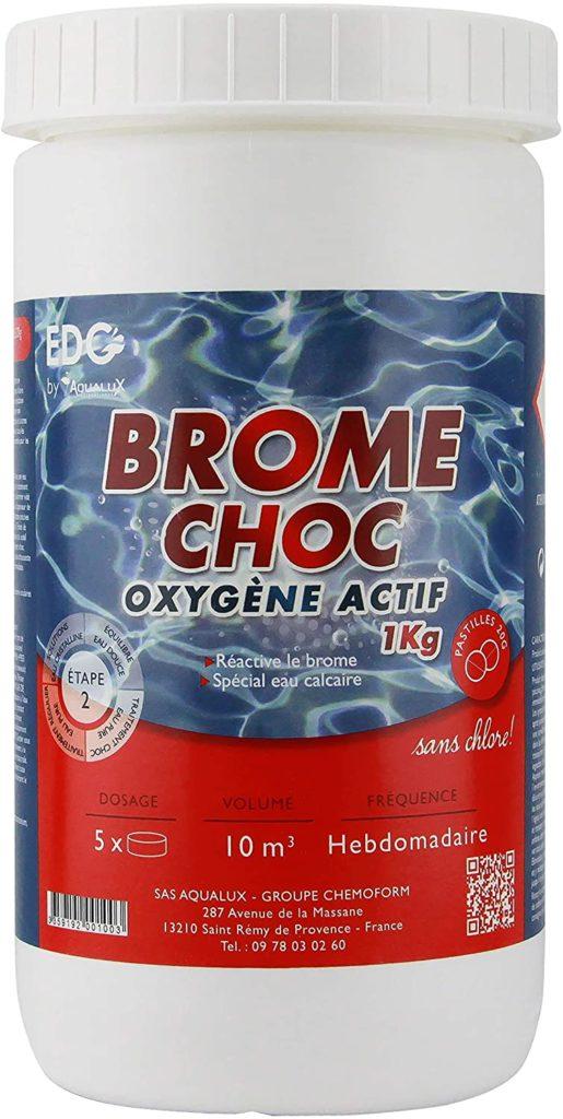Brome Choc Piscine en pastilles 20g quantité 1kg EDG marque Edenea réactivant