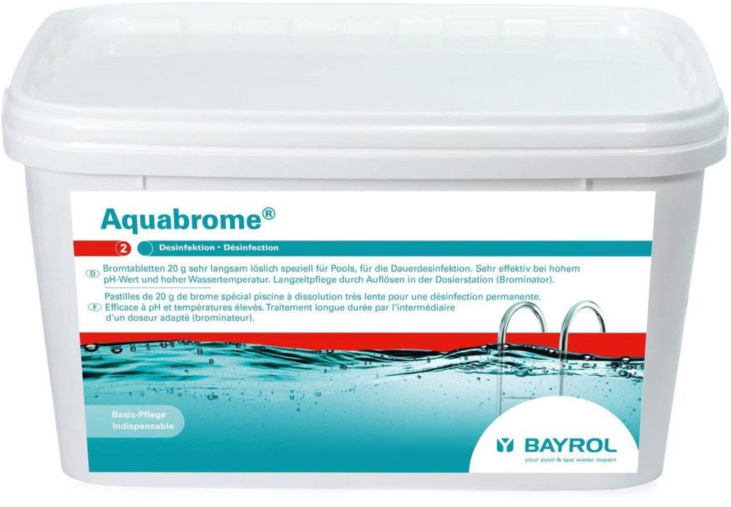 Brome Lent en pastille Aquabrome format 5kg Bayrol spécialiste produit nettoyage eau piscine guide achat pas cher