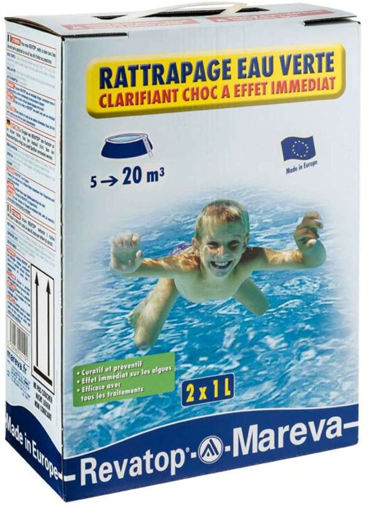 Clarifiant choc pour eau verte sans chlore Revatop Mareva, ratrapage algue piscine conseil commande en ligne produit chimique nettoyant