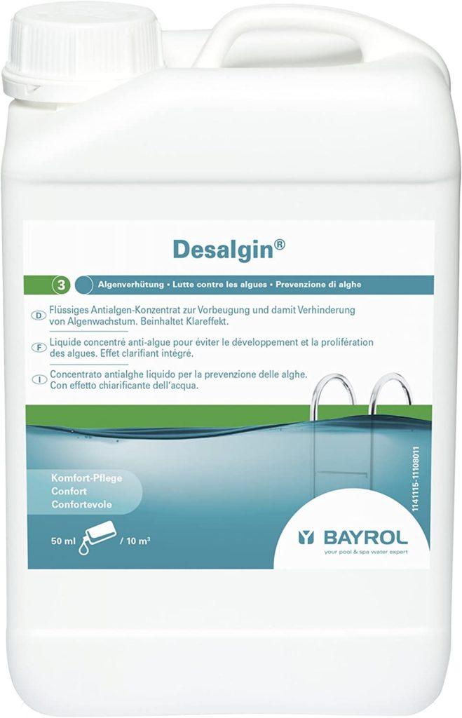 Desalgine Bayrol à utiliser pour le traitement préventive des algues piscine. Bidon de 3 litres pas cher en France et en Belgique