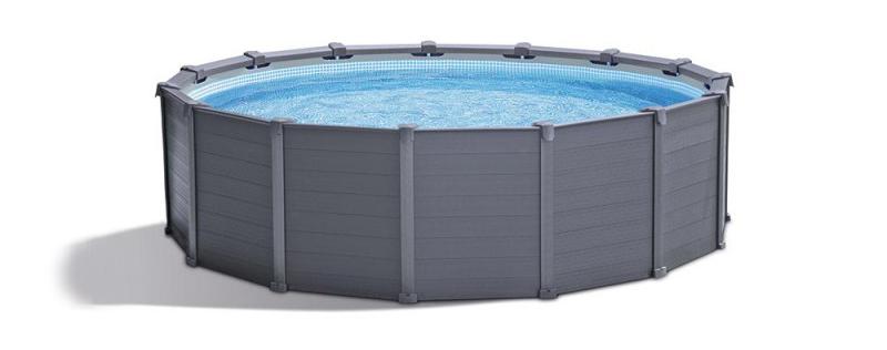 Liste des meilleures piscines tubulaires en vente, voir le modèle 26386fr la graphite de Intex le best fabricant de bassin démontable pas cher.