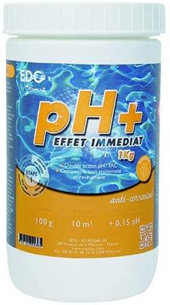PH Plus en poudre, correctif vendu en récipient de 1 kg marque Edenea guide meilleure solution ph pour piscine hors-sol et piscine enterré et intérieur