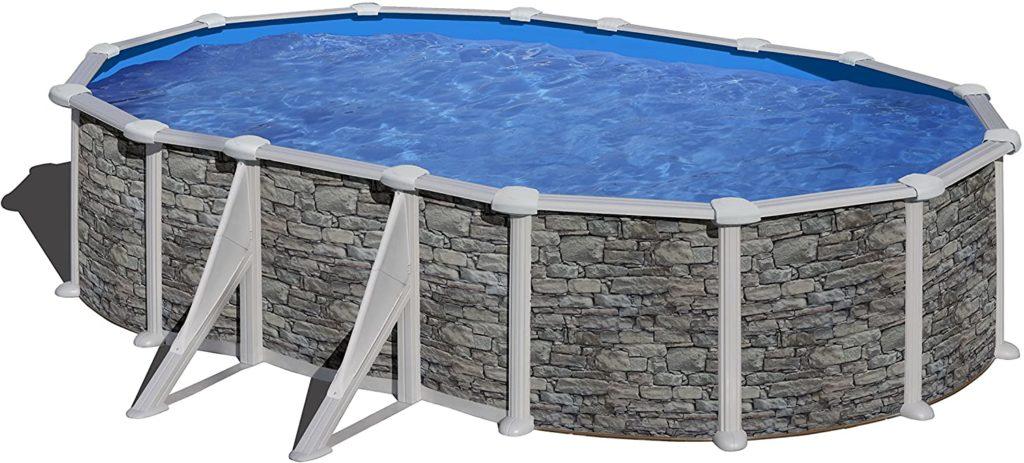 Gre piscine en acier de forme ovale, effet pierre modèle Corcega 6,1 x 3,75 x 1,32 m