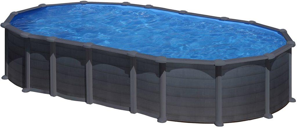 Piscine Gre modèle Capri ovale matériel résistant en acier pour nager 6,1 x 3,75 x 1,32 m Aspet graphite