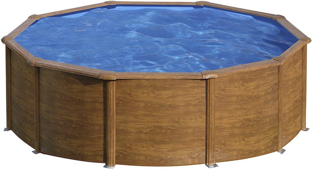 Piscine de forme arondie en acier du frabricant Gre Sicilia bassin de nage avec un aspet bois 4,6 x 1,2 m