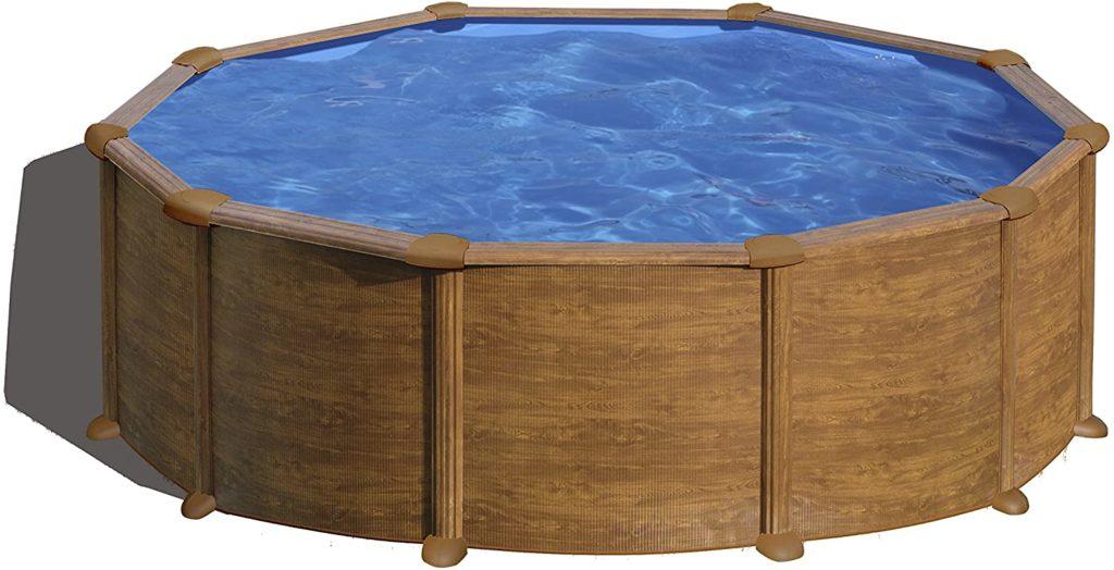 Piscine pour nager dans le jardin en acier, producteur Gre genre imitation bois de format rond 460 x 132 cm