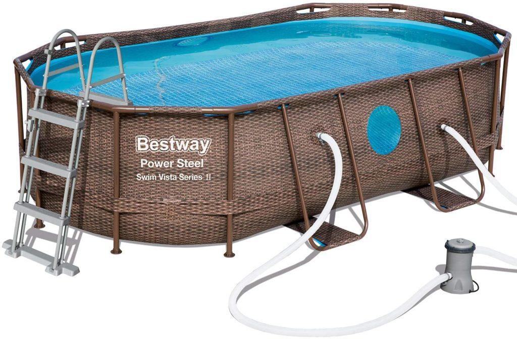 Piscine Power Steel Swim Vista de forme Ovale avec hublot 4,27 x 2,5  x 1 m produite par Bestway