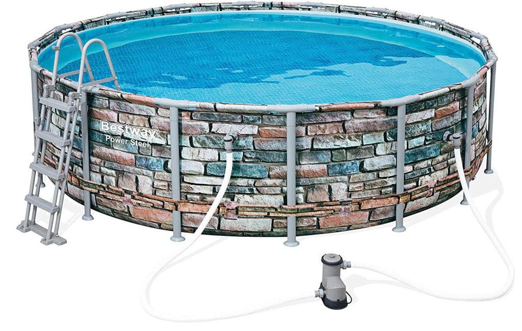 Bassin tubulaire de jardin, gamme Power Steel Bestway motif des parois pierre 4,88 x 1,22 m