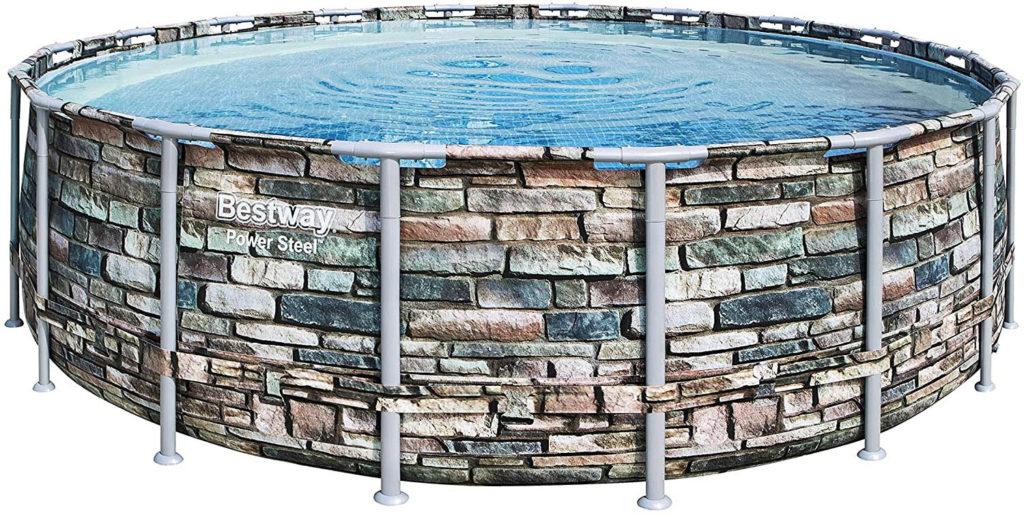 Piscine tubulaire pour la natation à la maison, modèle Bestway Power Steel, motif de l'armature pierre 5,48 x 1,32 m