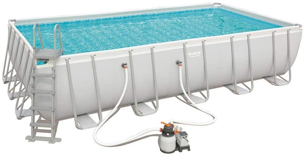 Bassin de natation Power Steel par Bestway de forme rectangle 6,71 x 3,66 x 1,32 m 56471 - Kit avec filtration à sable