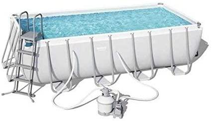 Power Steel forme rectangulaire, fabricant piscine Bestway 4,88  x 2,44 x 122 m - 56671 - Livré avec filtration et échelle de sécurité