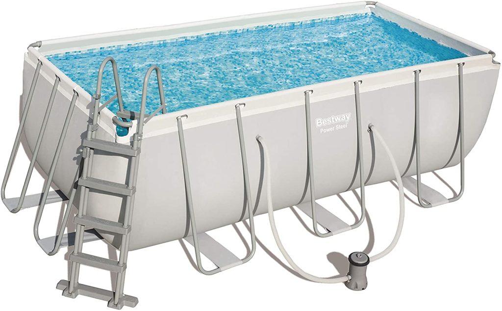 Power Steel rectangle, piscine farbiqué par Bestway d'une taille de 412 x 201 x 122 cm 8124 litres - Kit équipement natation avec appareil filtre à cartouche