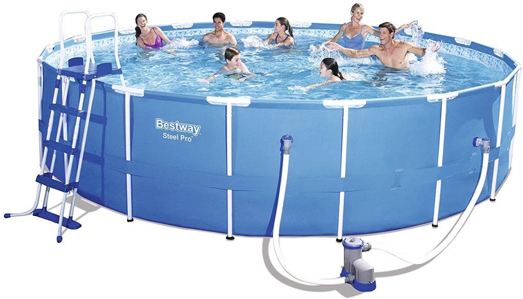 Le grand modèle de la gamme piscine Steel Pro produit par la marque Bestway ronde 5,49 x 1,22 m - référence 56462, contenance 23062 litres