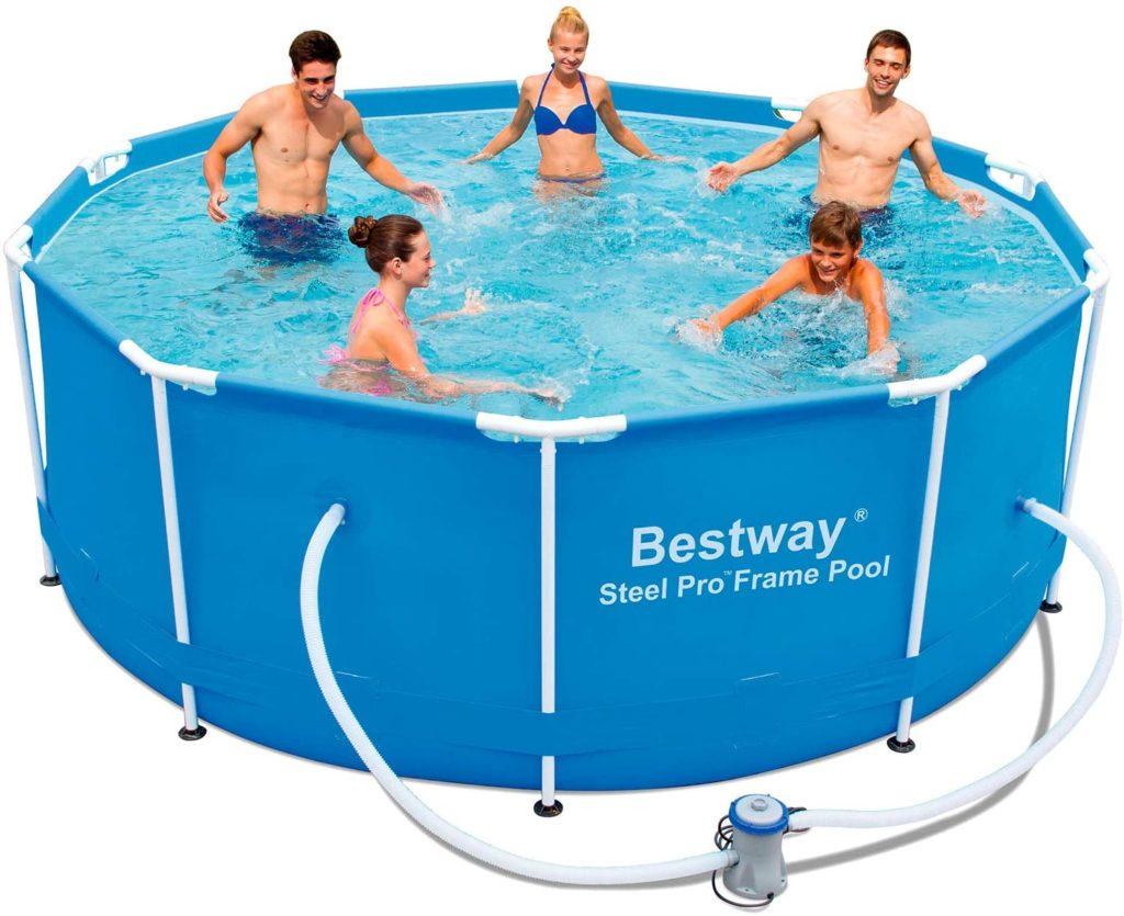 Bassin tubulaire de marque Bestway Steel Pro Frame Pool forme de piscine ronde 3,05 x 1 m 4678 litres