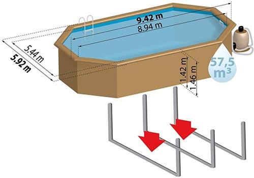 Schéma de taille piscine octogonale en bois