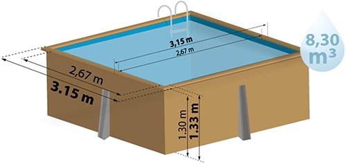 schéma piscine carré bois hors-sol ou en terre