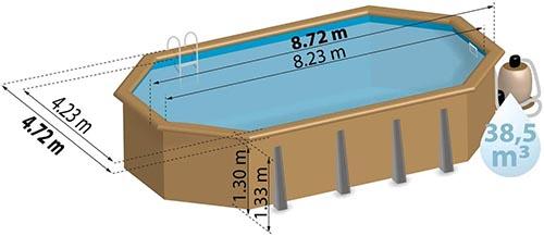 taille de la piscine bois  Laranja Sunbay schéma